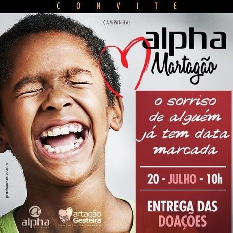 Entrega de doação da campanha Mês Solidário Alpha Ama o Martagão acontece nesta quarta (20)