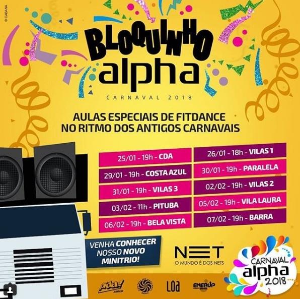 Bloquinho Alpha 2018 faz esquente de Carnaval a partir desta quinta