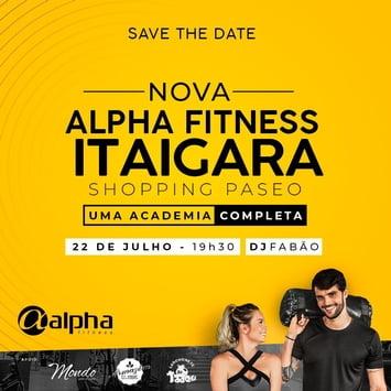 Rede Alpha Fitness inaugura nova unidade no Shopping Paseo, na próxima segunda (22)