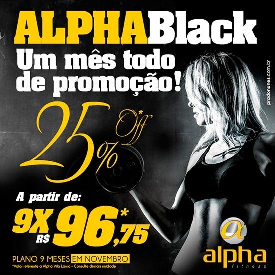 Rede Alpha Fitness antecipa Black Friday oferecendo 25% de desconto em novembro