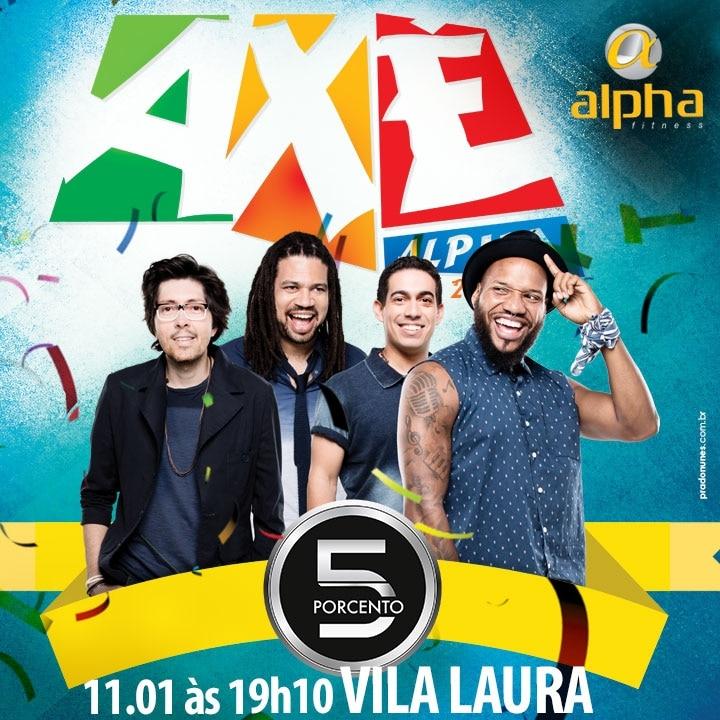 """Banda """"5 Por Cento"""" anima o Axé Alpha desta segunda-feira (11)"""