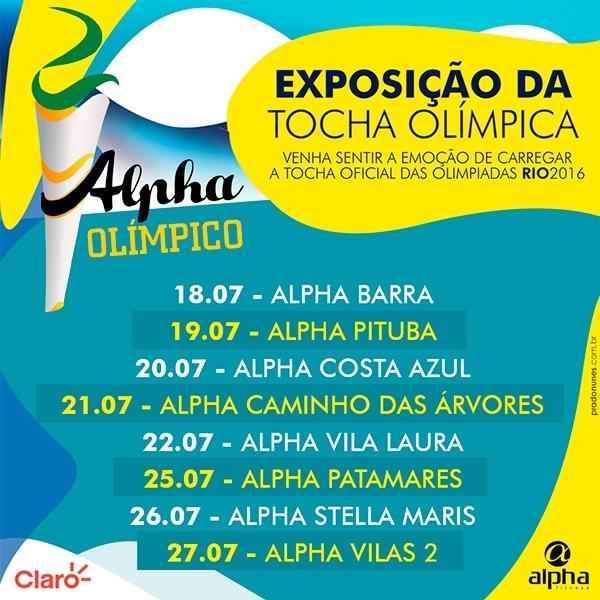 Tocha Olímpica fará tour pelas academias  da Rede Alpha Fitness