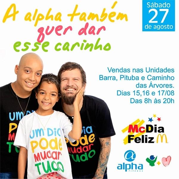 Rede Alpha Fitness participa de vendas de tíquetes do MCDia Feliz