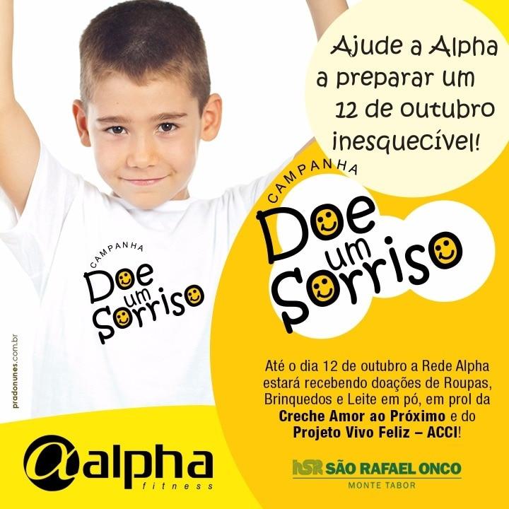 """""""Doe um sorriso"""": Rede Alpha Fitness arrecada donativos para crianças da Bahia e Sergipe"""