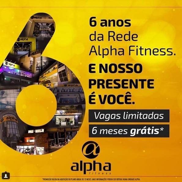 Rede Alpha Fitness celebra seis anos com festa e promoção!