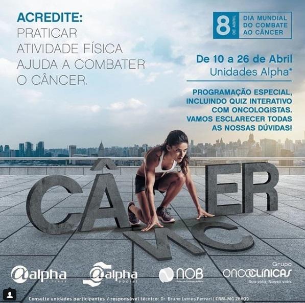 Alpha Fitness lança campanha para conscientizar sobre a importância da atividade física no combate ao câncer