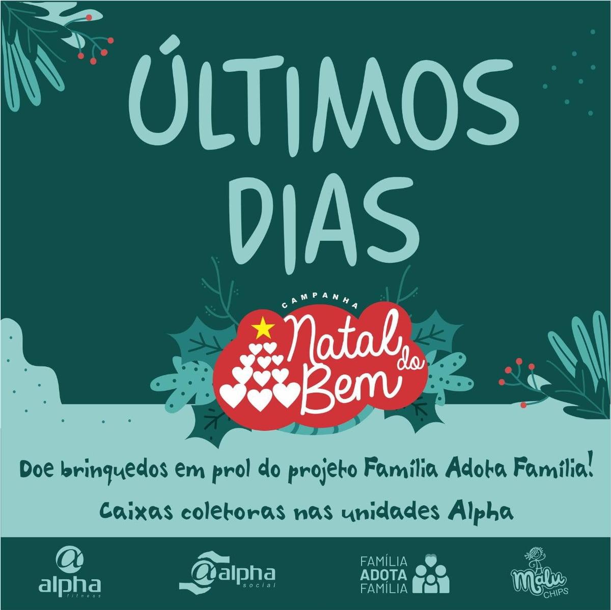 """Natal 2020: Rede Alpha Fitness promove campanha de Natal em prol do projeto """"Família Adota Família"""""""
